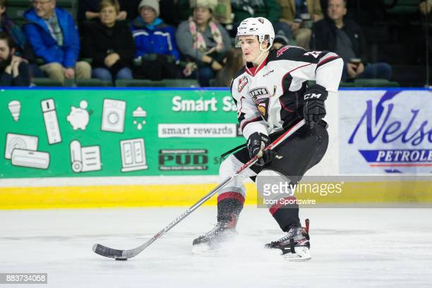 Vancouver Giants defenseman Kaleb Bulych looks to pass the puck during a game between the Vancouver Giants and the Everett Silvertips on Saturday...