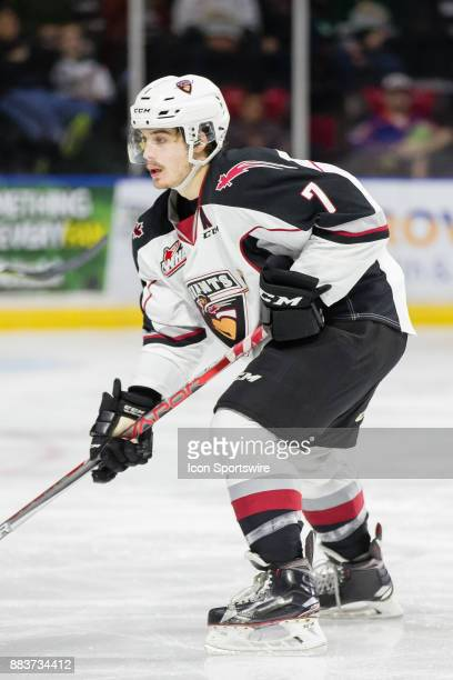 Vancouver Giants forward Ty Ronning skates with the puck during a game between the Vancouver Giants and the Everett Silvertips on Saturday November...