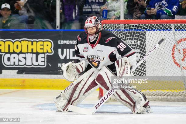 Vancouver Giants goaltender David Tendeck follows the action in his crease during a game between the Vancouver Giants and the Everett Silvertips on...