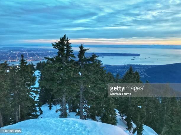 vancouver harbor from grouse mountain - montanhas north shore imagens e fotografias de stock