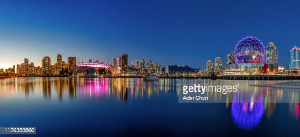 vancouver harbor nightview - panoramic stock pictures, royalty-free photos & images