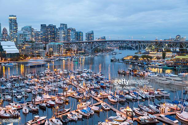 vancouver harbour & granville island at dusk - 2015 stock pictures, royalty-free photos & images