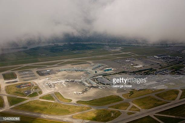Vancouver International Airport , located near downtown, viewed from the air on July 6, 2010 Vancouver, British Columbia, Canada. Vancouver was the...