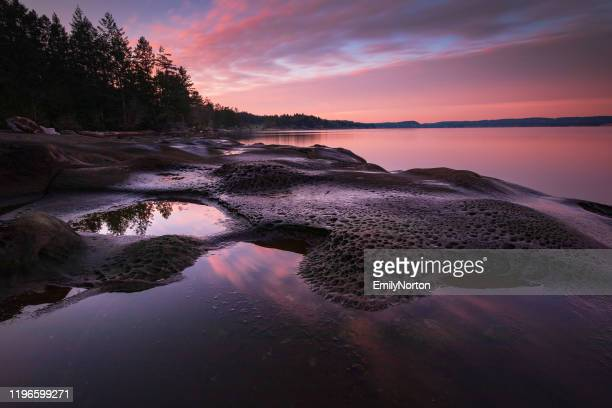 vancouver island sunset - seascape stock pictures, royalty-free photos & images