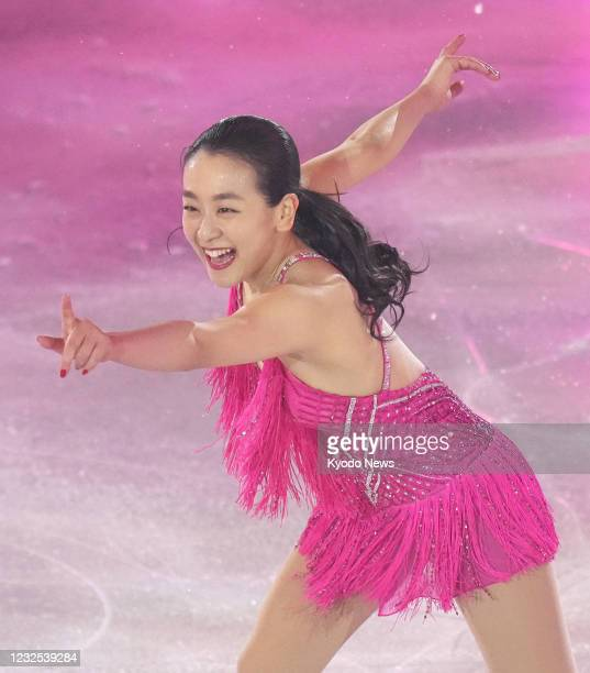 Vancouver Olympic figure skate silver medalist Mao Asada performs at an ice show in Yokohama near Tokyo on April 26, 2021.