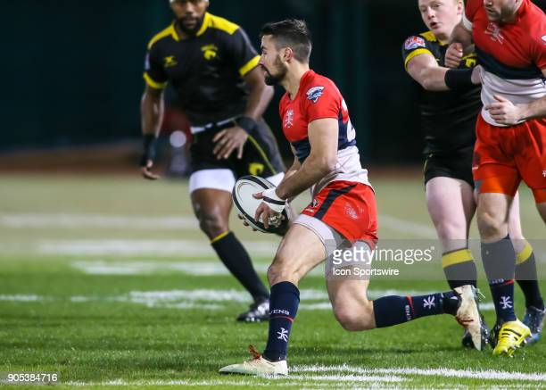 Vancouver Ravens center James Thompson moves the ball during the rugby match between the Vancouver Ravens and Houston SaberCats on January 13 2018 at...