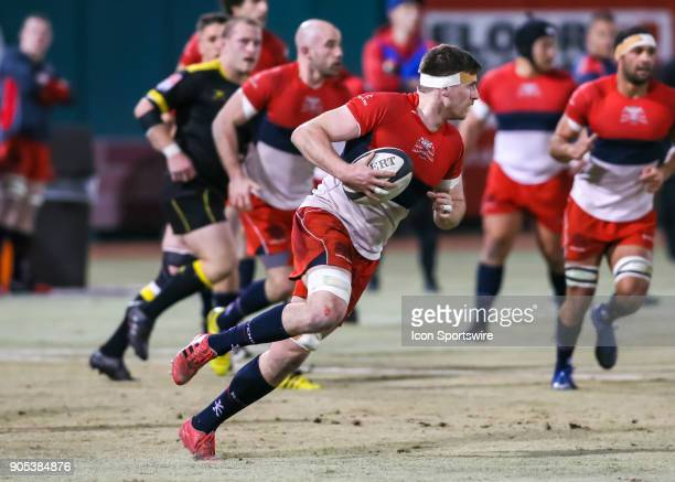 Vancouver Ravens eightman Karl Moran carries the ball during the rugby match between the Vancouver Ravens and Houston SaberCats on January 13 2018 at...