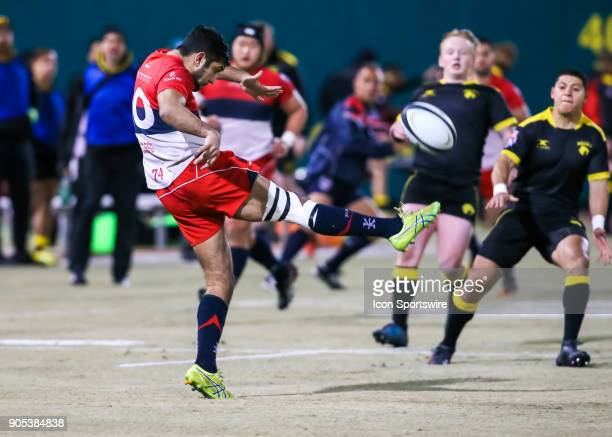 Vancouver Ravens flyhalf Harjun Gill kicks the ball during the rugby match between the Vancouver Ravens and Houston SaberCats on January 13 2018 at...