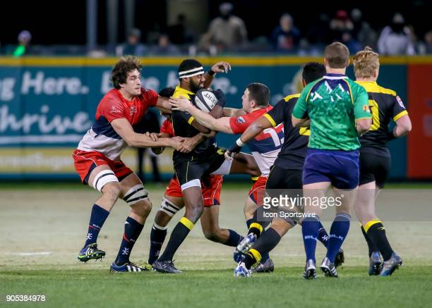 Vancouver Ravens lock Sam Clarke tackles Houston SaberCats wing Josua Vici during the rugby match between the Vancouver Ravens and Houston SaberCats...