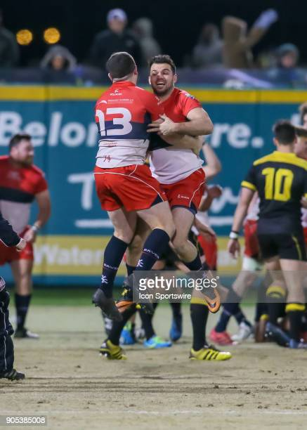 Vancouver Ravens players celebrate after defeating the Houston SaberCats during the rugby match between the Vancouver Ravens and Houston SaberCats on...