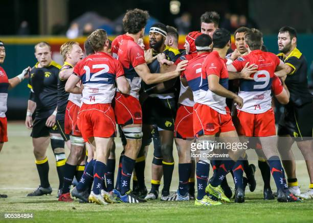 Vancouver Ravens players rumble with Houston SaberCats players during the rugby match between the Vancouver Ravens and Houston SaberCats on January...