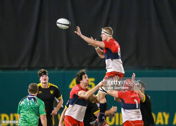 Vancouver Ravens scrumhalf AJ King wins the ball during the rugby match between the Vancouver Ravens and Houston SaberCats on January 13 2018 at...