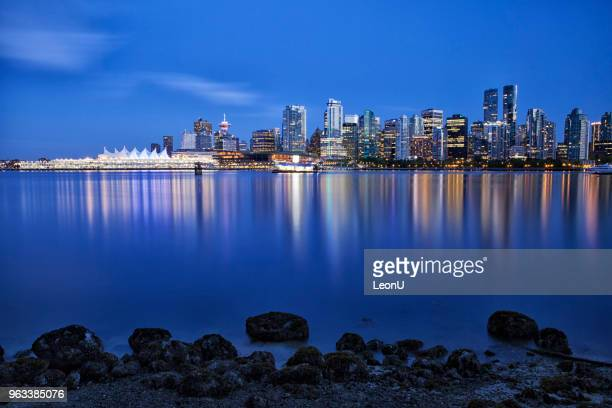 vancouver skyline at blue hour,  canada - british columbia stock pictures, royalty-free photos & images