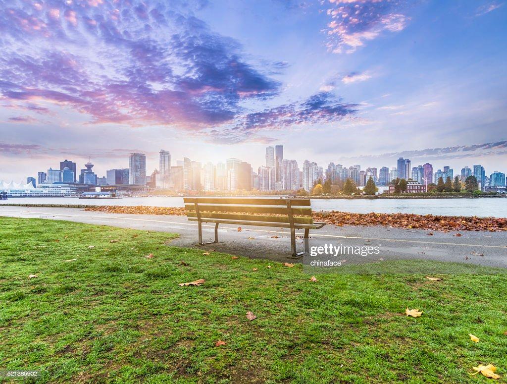 Vancouver skyline in sunrise : Stock Photo