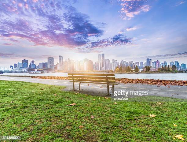 vancouver skyline in sunrise - vancouver canada stock photos and pictures