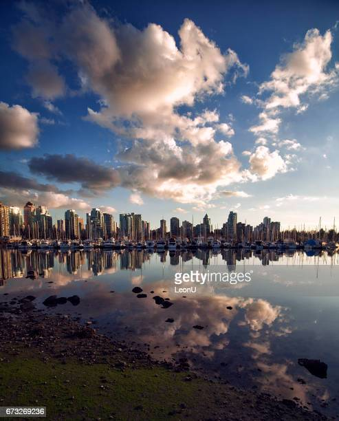 Vancouver skyline sunset reflection, Canada