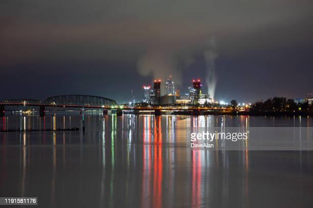 vancouver washington night cityscape. - washington state stock pictures, royalty-free photos & images