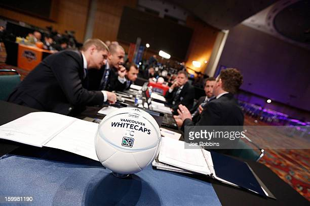 Vancouver Whitecaps FC officials discuss strategy prior to the 2013 MLS SuperDraft Presented by Adidas at the Indiana Convention Center on January 17...