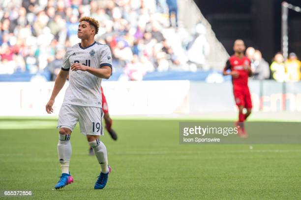 Vancouver Whitecaps forward Erik Hurtado looks on after he couldn't catch up to a pass during their match against Toronto FC at BC Place on March 18...
