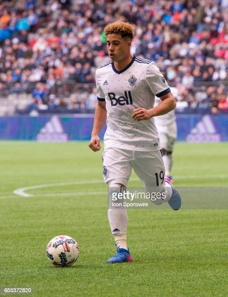 Vancouver Whitecaps forward Erik Hurtado runs with the ball during their match against Toronto FC at BC Place on March 18 2017 in Vancouver Canada...