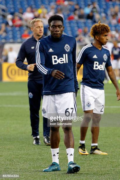 Vancouver Whitecaps midfielder Alphonso Davies before an MLS match between the New England Revolution and Vancouver Whitecaps FC on August 12 at...