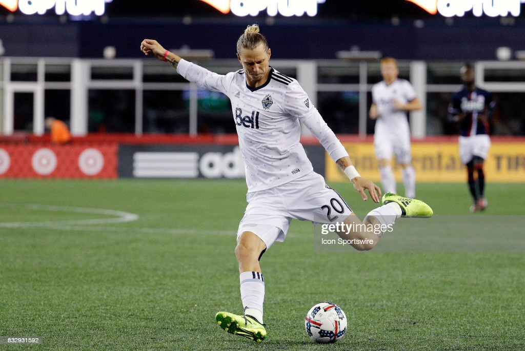Vancouver Whitecaps midfielder Brek Shea (20) crosses the ball during an MLS match between the New England Revolution and Vancouver Whitecaps FC on August 12, 2017, at Gillette Stadium in Foxborough, Massachusetts. The Revolution defeated the Whitecaps 1-0.
