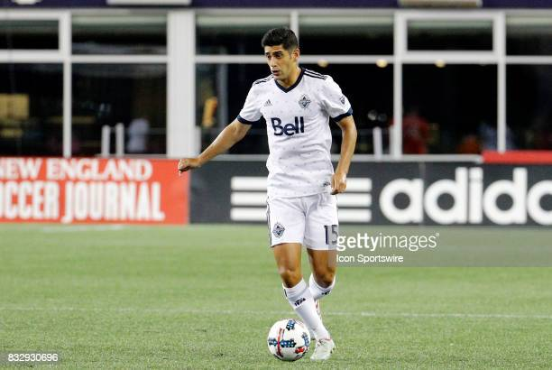 Vancouver Whitecaps midfielder Matias Laba holds the ball during an MLS match between the New England Revolution and Vancouver Whitecaps FC on August...