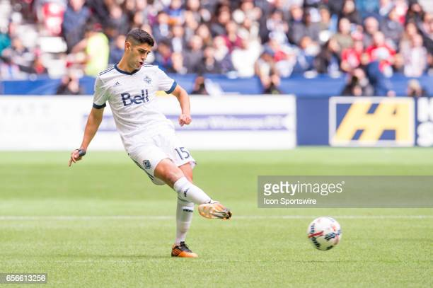Vancouver Whitecaps midfielder Matias Laba kicks the ball during their match against Toronto FC at BC Place on March 18 2017 in Vancouver Canada...