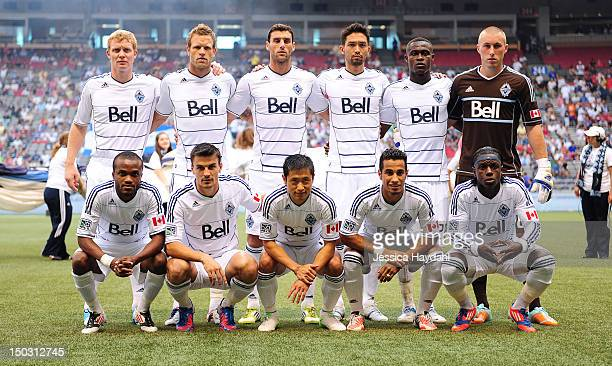 Vancouver Whitecaps starting line up back row left to right Barry Robson Jay Demerit Martin Bonjour Jun Marques Davidson Gershon Koffie and Brad...
