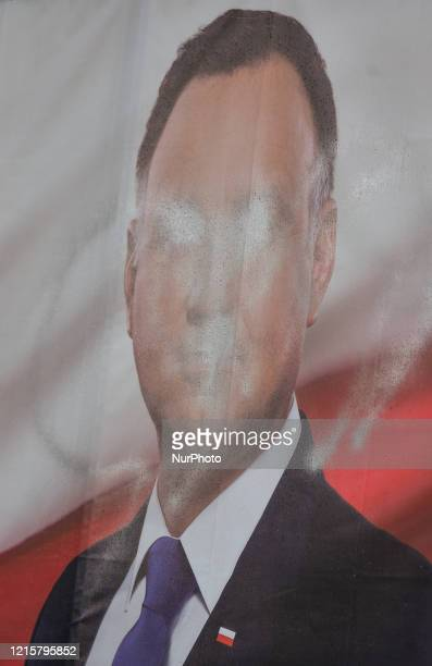 A vandalised election poster of Andrzej Duda the current President of Poland and a candidate for the Presidential Election 2020 seen outside Krakow...