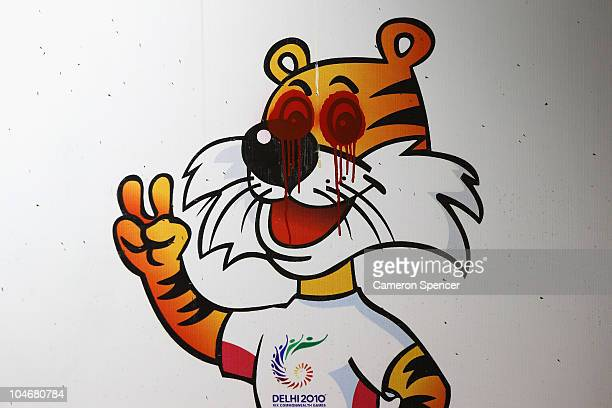 A vandalised poster with the Delhi Commonwealth Games mascot defaced ahead of the Delhi 2010 Commonwealth Games which open this evening on October 3...