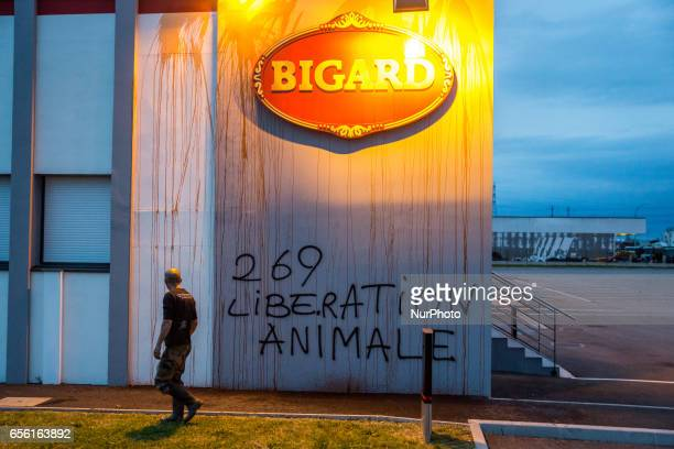 Vandalism against meat company Bigard for the World Day whitout meat on March 21 2017 in Corbas France The association quot269 LifeLiberation...