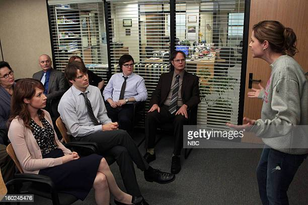 THE OFFICE Vandalism Episode 915 Pictured Phyllis Smith as Phyllis Vance Ellie Kemper as Erin Hannon Creed Bratton as Creed Bratton Jake Lacy as Pete...