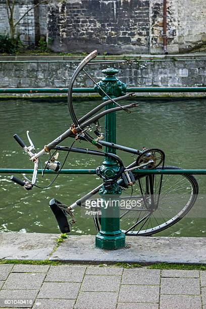 Vandalized bicycle destroyed by frustrated youngster