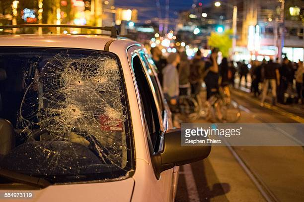 A vandalized car at the May Day protest and demonstrations in the Capitol Hill neighborhood of Seattle 5/1/2015
