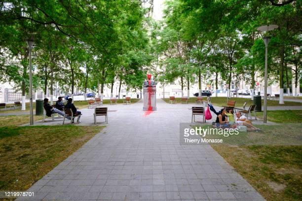 Vandalized statue of Baudouin of Belgium is seen on June 14, 2020 in Brussels, Belgium. Belgium King Baudouin Albert Charles Léopold Axel Marie...
