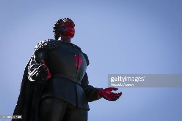 A vandalized statue of Christopher Columbus is seen at Bayfront Park after a protest on June 10 against George Floyd's death police brutality and...