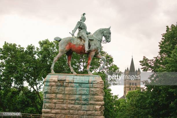 A vandalized statue of Kaiser Wilhelm is seen in Cologne Germany on June 28 2020