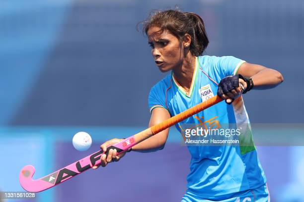 Vandana Katariya of Team India controls the ball during the Women's Preliminary Pool A match between India and South Africa on day eight of the Tokyo...