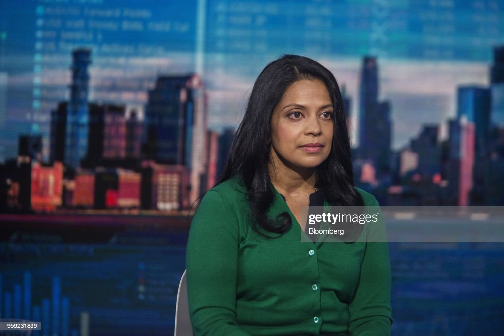 Vandana Radhakrishnan, partner at Bain & Co., listens during a Bloomberg Television interview in New York, U.S., on Wednesday, May 16, 2018. Radhakrishnan discussed the state of the U.S. consumer. Photographer: Victor J. Blue/Bloomberg via Getty Images