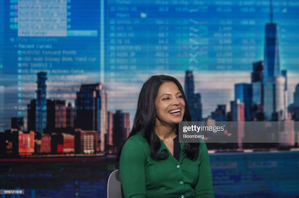 Vandana Radhakrishnan, partner at Bain & Co., smiles during a Bloomberg Television interview in New York, U.S., on Wednesday, May 16, 2018. Radhakrishnan discussed the state of the U.S. consumer. Photographer: Victor J. Blue/Bloomberg via Getty Images