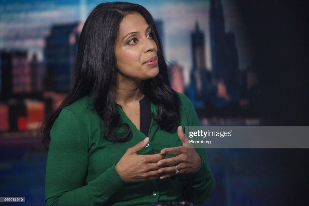 Vandana Radhakrishnan, partner at Bain & Co., speaks during a Bloomberg Television interview in New York, U.S., on Wednesday, May 16, 2018. Radhakrishnan discussed the state of the U.S. consumer. Photographer: Victor J. Blue/Bloomberg via Getty Images