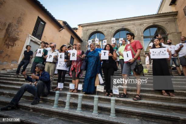 Vandana Shiva during a Flash Mob Earth Associations gather to defend the public good water and to ask the mayor of Rome Virginia Raggi administration...