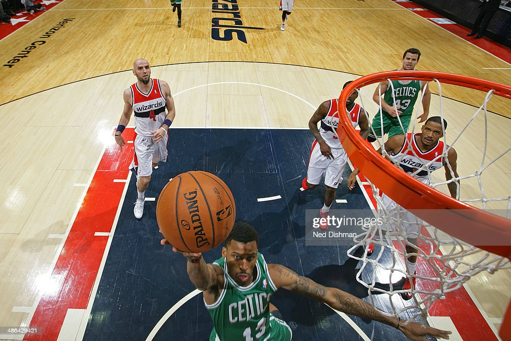 Vander Blue #13 of the Boston Celtics drives to the basket against the Washington Wizards during the game at the Verizon Center on January 22, 2014 in Washington, DC.