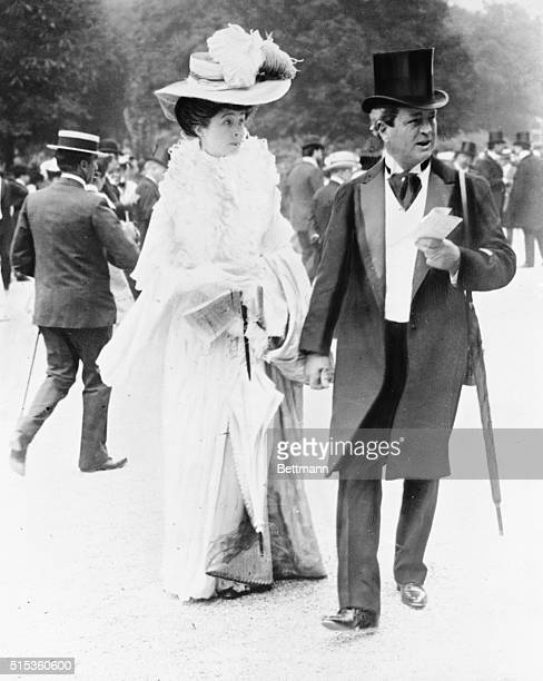 WK Vanderbilt and his daughter Consuelo Duchess of Marlborough at the races in Paris