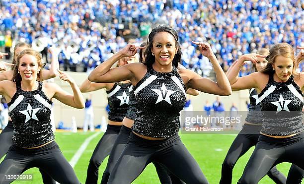 Vanderbilt Commodores cheerleaders perform during a game against the Kentucky Wildcats at Vanderbilt Stadium on November 12 2011 in Nashville...