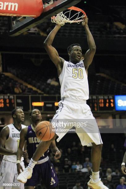 Vanderbilt Commodores forward Ejike Obinna scores on a dunk in the second half of a nonconference game between the Vanderbilt Commodores and Alcorn...