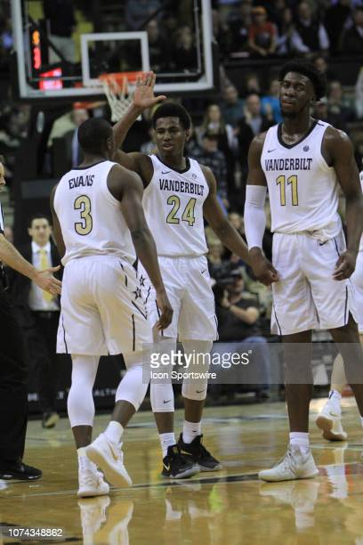Vanderbilt Commodores guard Maxwell Evans Aaron Nesmith and Simisola Shittu celebrate in the first half of a game between the No 18 Arizona State Sun...