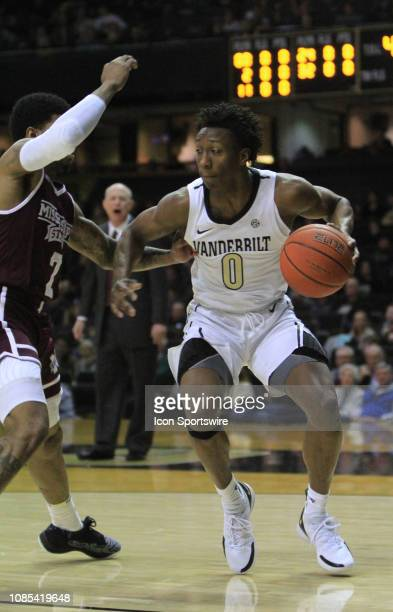 Vanderbilt Commodores guard Saben Lee drives to the basket past Mississippi State guard Lamar Peters in the first half of a game between the...
