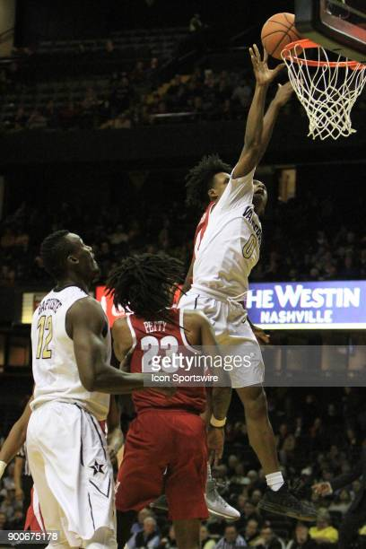 Vanderbilt Commodores guard Saben Lee has his shot blocked by Alabama Crimson Tide defender Collin Sexton during a Southeastern Conference game...